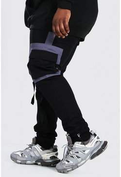 Black Plus Size Colour Block Panel Woven Cargo Jogger