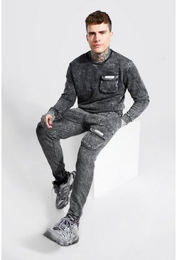 Charcoal Overdyed MAN Cargo Pocket Sweater Tracksuit