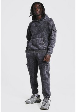 Charcoal Overdyed Loose Fit Cargo Hooded Tracksuit