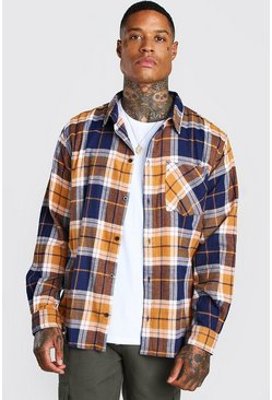 Yellow Check Shirt With Woven Hem Tab