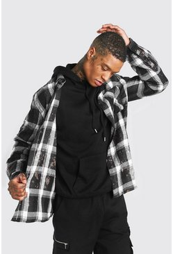 Black Check Shirt With Bleaching