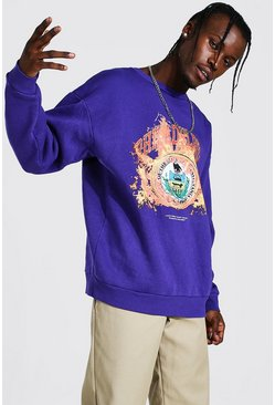 Purple Oversized Man Los Angeles Flame Print Sweat