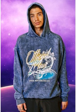 Oversized Official Man Scorpion Print Hoodie, Navy