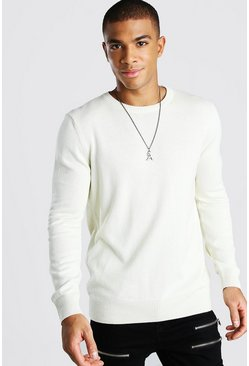 Ecru Basic Crew Neck Jumper