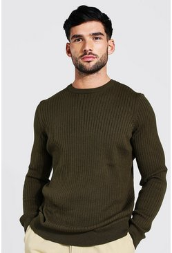 Khaki Ribbed Crew Neck Jumper