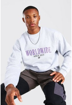 Grey marl Oversized Worldwide Print Sweatshirt