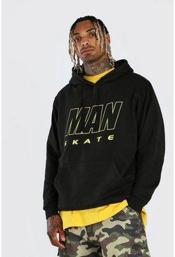 Black MAN Skate Oversized Hoodie
