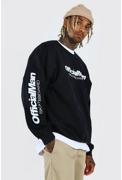 Black Official MAN Skateboard Oversized Sweater