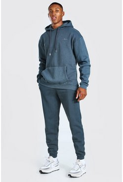 Dark grey Heavyweight Enzyme Wash Tracksuit