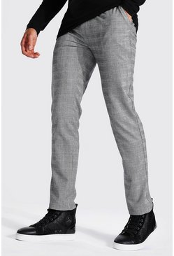 Grey Skinny Check Smart Pants