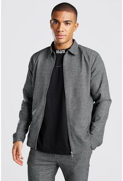 Charcoal Check Harrington Coord Smart Jacket