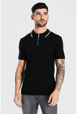 Short Sleeve Muscle Fit Knitted Half Zip Polo, Black