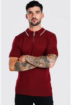 Short Sleeve Muscle Fit Knitted Half Zip Polo, Burgundy