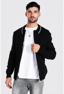 Knitted Harrington Jacket With Tipping, Black