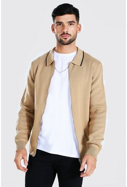 Knitted Harrington Jacket With Tipping, Beige