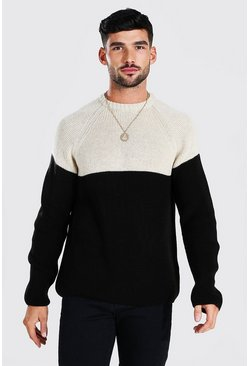 Black Colour Block Chunky Knit Crew Neck Sweater