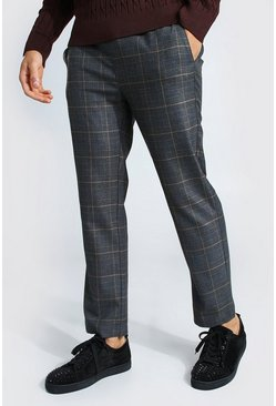 Charcoal Skinny Check Smart Cropped Jogger