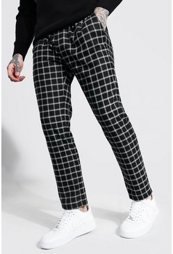 Black Skinny Check Smart Cropped Jogger