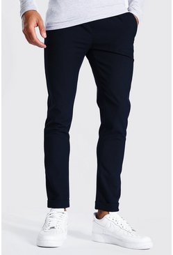 Navy Skinny Smart Cropped Jogger With Turn Up