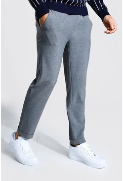 Grey Skinny Smart Cropped Jogger With Turn Up