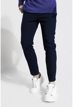 Navy Super Skinny Smart Cropped Jogger Trouser