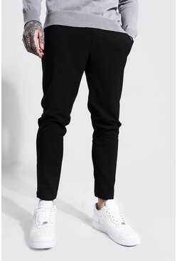 Black Super Skinny Smart Cropped Jogger Trouser