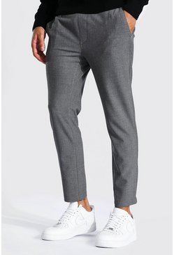 Grey Super Skinny Plain Smart Cropped Jogger