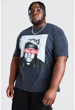 Black Plus Size Acid Wash Notorious License T-Shirt