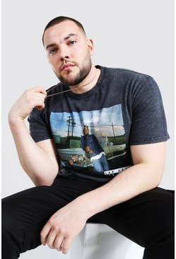 Black Plus Size Acid Wash Ice Cube License T-Shirt