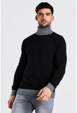 Black Contrast Chunky Turtleneck Sweater