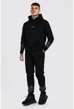 Black Original MAN Flame Diamante Tracksuit