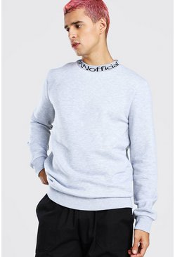 MAN Official Jacquard Neck Sweatshirt, Grey marl