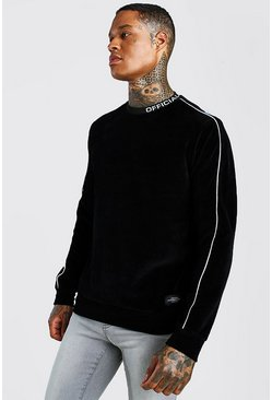 Black Velour Sweatshirt With MAN Official Neck