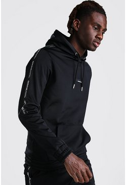 Black MAN Official Tricot Hoodie With Sleeve Tape