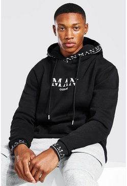 Black MAN Roman Hood And Cuff Detail Hoodie