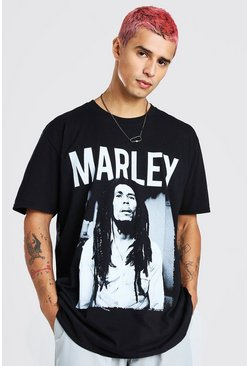 Black Oversized Bob Marley License T-Shirt