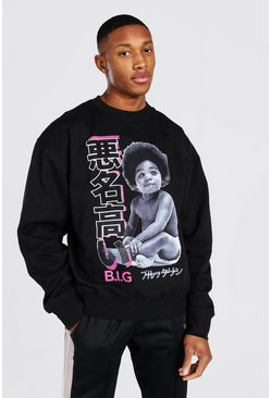 Black Oversized Biggie Brooklyn License Sweatshirt