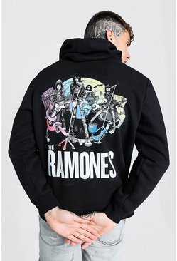 Black Oversized Ramones License Hoodie