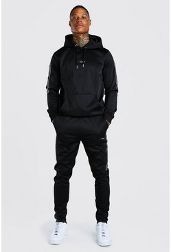 Official MAN Tape Poly Hooded Tracksuit, Black
