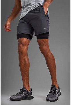 MAN Active 2-In-1 Short, Charcoal