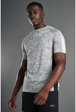 Grey MAN Active Raglan Gym T-Shirt With Panel