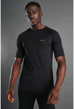 MAN Active Muscle Fit Raglan Gym T-Shirt, Black