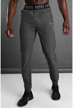 MAN Active Tapered Jogger With MAN Waistband, Charcoal