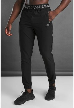 Black MAN Active Tapered Jogger With MAN Waistband