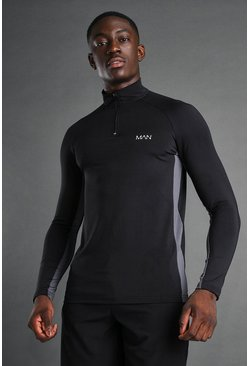 MAN Active Muscle Fit 1/4 Zip Funnel Top, Black