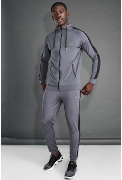 MAN Active Skinny Hooded Side Panel Tracksuit, Charcoal