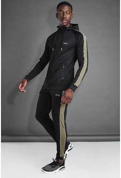 MAN Active Skinny Hooded Side Panel Tracksuit, Black