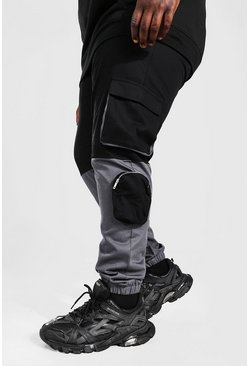 Black Plus Size Colour Block Woven Cargo Jogger