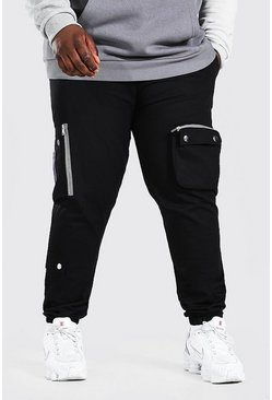 Black Plus Size Pocket Detail Woven Cargo Jogger