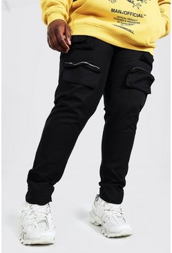 Plus Size Multi Pocket Woven Cargo Jogger, Black